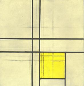Composition with double lines and yellow (unfinished)