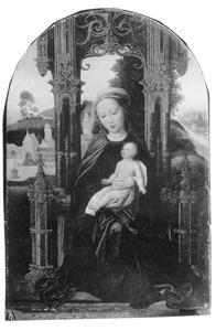 Tronende Maria met kind, op de achtergrond een landschap