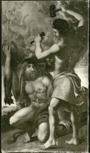 Hercules draagt de hemel, die door Uranus, de hemelgod
