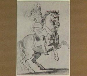 Portret van een man op een steigerend paard