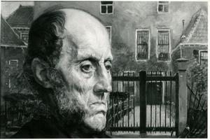 Portret van een oude man voor een huis