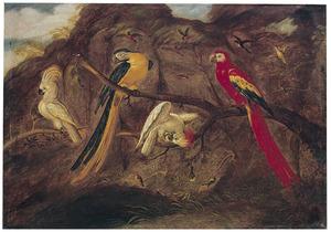 Papegaaiachtigen op takken in een landschap