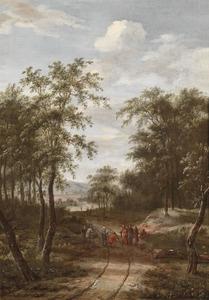 Bebost landschap met de Christus en de hoofdman van Kafarnaüm