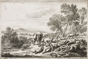 Arcadisch landschap met een spinster en een slapende herder