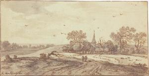 Landschap met bomen en een kerktoren
