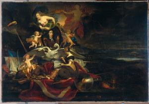 Allegorische verheerlijking van Cornelis de Wit als gecommitteerde der Staten Generaal tijdens de Tocht naar Chatham (1667)