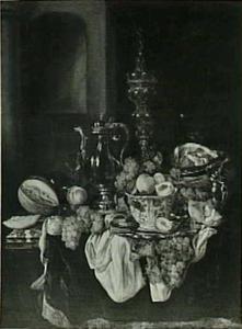 Pronkstilleven met fruit, zilver- en glaswerk, zilveren