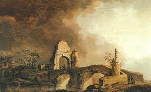 Nachtelijk landschap met een stenen brug en een vervallen poort, beschenen door de maan
