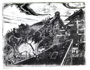 Dorpshuizen met bomen