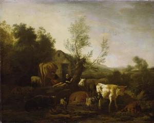 De herder en zijn kudde schapen