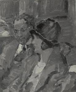 Jong meisje zittend bij een donkere man in een café