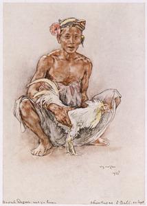 Bapak Degoer uit Abïen-Kapas met zijn vechthaan