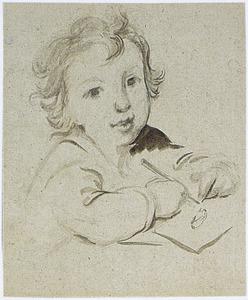 Studie van een kind dat een konijn tekent