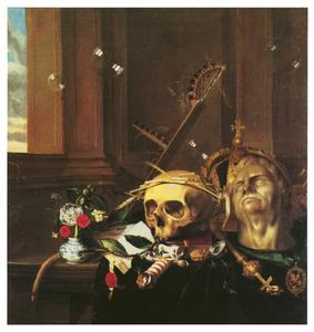 Vanitasstilleven bij een venster met een kroon, een keizerskop, een omkranste schedel, een vaasje bloemen, een brief, een horloge en een St. Jorispenning