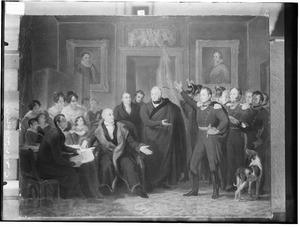 De aanvaarding van het Hoog Bewind door het Driemanschap in naam van de prins van Oranje op 21 november 1813 ten Huize van Gijsbert Karel van Hogendorp