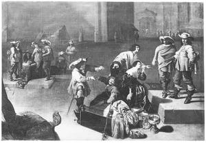 Interieur van een wachtlokaal met soldaten de buit inspecteren en een smekend paar