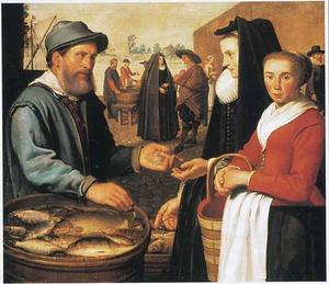 Vrouw met dienstmaagd, die vis koopt van een marktkoopman