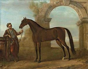 De Godolphin Arabier, vastgehouden door een paardenknecht, in een landschap met geruineerde boog
