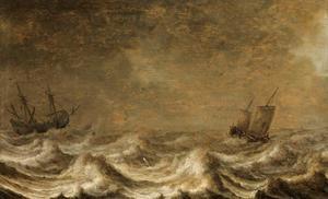 Zeilschepen op stormachtige zee