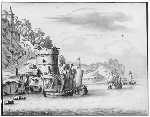 Rotsachtig rivierlandschap met vestingtoren en zeilbootjes