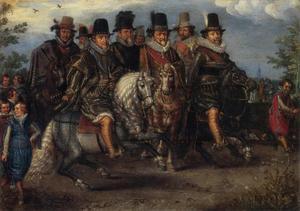 Cavalcade met prinsen van Oranje en graven van Nassau