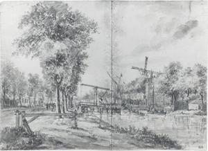 Stadssingel in Delft met de Schiedamse Poort en de brug naar de Rotterdamse Poort