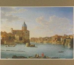 Gezicht op de Tiber en San Giovanni dei Fiorentini te Rome