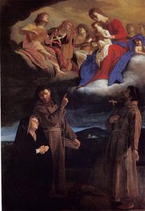 Maria en kind met de heiligen Franciscus van Assisi en Bonaventura verschijnend in een visioen aan prinses Colonna-Gonzaga
