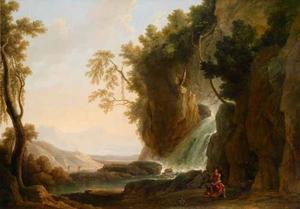 Zuidelijk landschap met een waterval en de H. Hieronymus in de wildernis