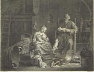 Man, vrouw en kind met hond in interieur
