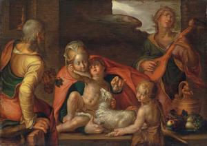 De heilige Familie met Johannes de Doper als kind en een musicerende engel