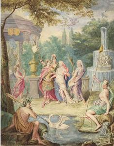 Liefdespaar met Minerva bij een tempel en stroomgod