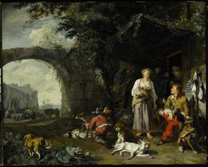 Rustende jagers met hun honden bij een herberg