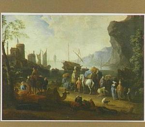 Italiaans kustgezicht met aanlegplaats voor schepen