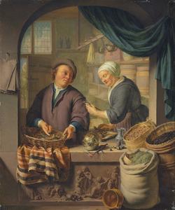 Een man en een vrouw in een kruidenierswinkel