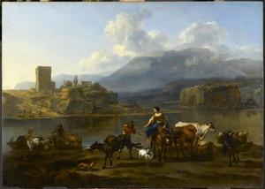Landschap met herders en vee die het water oversteken