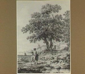 Een ruiter en enkele figuren in een landschap