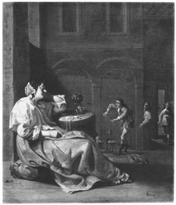 Slapende vrouw die beroofd wordt in een interieur