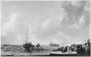 Vissersboot voor het strand van Scheveningen met vissers die hun vangst verhandelen