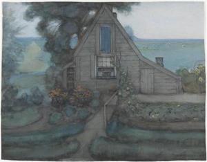 Triangulated farmhouse façade with polder in blue