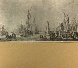 Prinsen- en statenjacht en andere vaartuigen voor anker in de haven van Bergen op Zoom; op de voorgrond kaartspelende soldaten