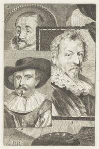 Portretten van Guilliam van Nieulandt II (1584-1635), Gerrit Pietersz. Sweelink (1566-....) en Hendrick van Balen (1573-1632)