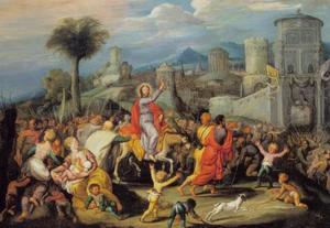 De intocht in Jeruzalem op Palmzondag (Mattëus 21:1-11, 21:14-16; Marcus 11:1-11; Lucas 19:28-40; Johannes 12:12-19)