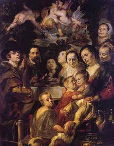 Zelfportret van Jacob Jordaens (1593-1678) met zijn ouders, broers, zusters en hun kinderen