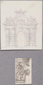 Ontwerp voor mogelijk de Haarlemmerpoort te Amsterdam, en een Korinthisch kapiteel met Pegasus
