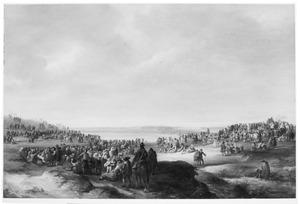 Uitgestrekt landschap met processie en voedseluitdeling t.g.v. een katholieke feestdag, een vestingstad aan een rivier op de achtergrond