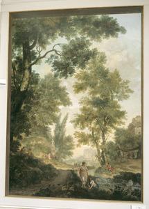 Klassiek arcadisch landschap met offerscène en jageres