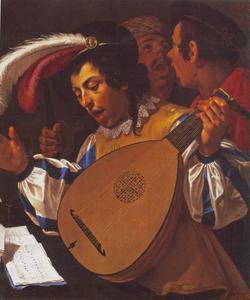 Drie zingende jongemannen met een luit