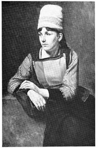 Rustende Marker vrouw met breiwerk in de hand