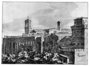 Italiaans stadsgezicht met kerk en vestingmuren